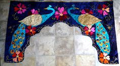valance,Your Design, your size, Velvet Palace door, applique, peacocks, archways, toran, meditation rooms, yoga studios, fairy, grottos. $170.00, via Etsy.