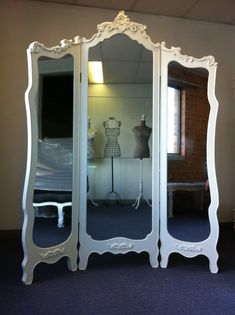 french dressing room | NEW FRENCH PROVINCIAL ROOM DIVIDER TRI-FOLD DRESSING MIRROR CHIC