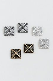 Kardashian Kollection Pyramid Stud Earring Trio With Faceted Stones Kardashian Kollection, Kardashian Style, Diamond Are A Girls Best Friend, Hair Jewelry, Celebrity Style, Studs, Cute Outfits, Hair Accessories, My Style