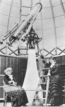 Maria Mitchell (seated) inside the dome of the Vassar College Observatory, with her student Mary Watson Whitney (standing), ca. Brave, Gender Pay Gap, Great Women, Yesterday And Today, Women In History, Historical Society, Telescope, New England, Discovery