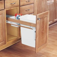 Buy the Rev-A-Shelf White Direct. Shop for the Rev-A-Shelf White Top Mount Single Bin Trash Can with Full Extension Slides - 35 Quart Capacity and save. Kitchen Cabinets Fittings, Small Kitchen Cabinets, Kitchen Drawers, Kitchen Island, Kitchen Floor, Open Kitchen, Smart Kitchen, Kitchen Cupboard, Kitchen Tile