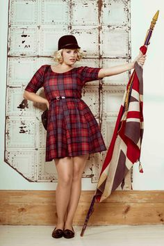 Plus size red tartan dress