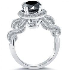 3.20 Carat Certified Natural Black Diamond Engagement Ring 18k White Gold - Black Diamond Engagement Rings - Engagement