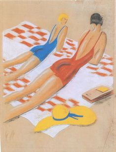 """Ottorino Mancioli, """"Le chiacchiere"""", 1930 (studio per il manifesto """"Pesaro""""), pastelli su carta. Collezione privata, Roma. Esposizione in mostra al Brohan Museum di Berlino marzo-giugno 2010"""