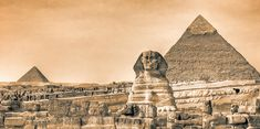 Vintage picture of Sphinx and pyramid