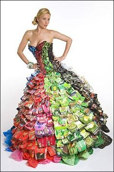Recycled - This dress was made with cans, bottle tops and cardboard boxes by Gary Harvey