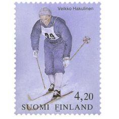 Postimerkki: Veikko Hakulinen | Suomen postimerkit Lillehammer, Finland, Stamps, Baseball Cards, Paper, Seals, Postage Stamps, Stamp