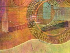 """""""Guitar Abstract 3"""" by Faye CummingsASHLAND, OR // Abstract digital painting with overlapping views of an old acoustic guitar. Vibrant and gentle color harmonies of green and orange, yellow and pink add energy. Nice for musicians, art lovers, and music fans! // Imagekind.com -- Buy stunning, museum-quality fine art prints, framed prints, and canvas prints directly from independent working artists and photographers."""