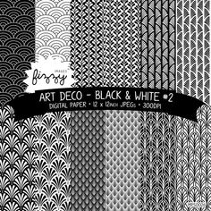 12 x Art déco Great Gatsby années 1920 1930 noir & blanc (No.2) à motif papier numérique Clipart avec téléchargement immédiat. MPS0026