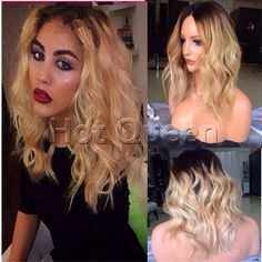 100% Indian Remy Human Hair Short Wavy Ombre T#1B/613 Lace Front Wig 8-16 #Hotqueen #FullWig
