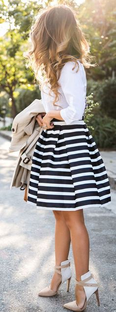 Classic Stripe Midi Skirt Styling little longer skirt of course