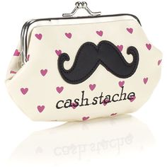 Accessorize Cash Stache Clip Frame Purse ($5.25) ❤ liked on Polyvore featuring bags, handbags, clutches, sac, white bag, mustache purse, mustache bag, purse bag and handbags purses