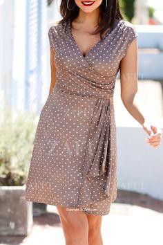 Polka Dot Print V Neck Sleeveless Dress