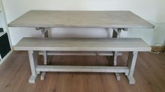 Refectory table & handcrafted bench. Lime waxed.
