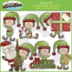 Elf clip art from Scrappin Doodles. Great for your Christmas projects! $
