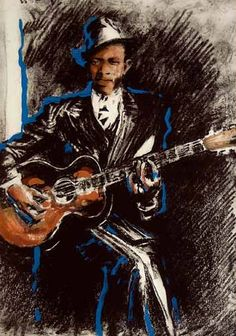 Ronnie Wood Exhibition - Jazz & Blues Series by Ronnie Wood Ronnie Wood Art, Illustrations, Illustration Art, Ron Woods, Jazz Blues, Blues Music, Robert Johnson, English Artists, London Art