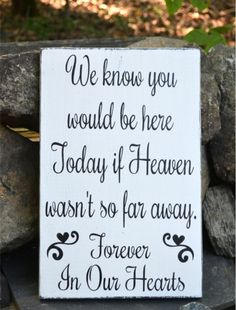 In Memory Of Loved Ones Wedding Sign Heaven Plaque Wood Signs Memories Weddings Decor Memorial Rustic Hand Painted