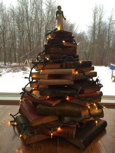 Book Christmas Tree with Jane Austen tree topper.