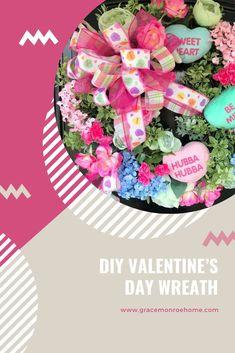 DIY Valentine's Day Wreath #wreath #tutorial #homedecor #decorprojects #wreathmaking #wreathprojects #DIY #DIYWreath #wreathideas Diy Valentines Day Wreath, Valentine Decorations, Valentine Crafts, Baby Shower Decorations, Christmas Decorations, Wreath Making, Diy Wreath, Bow Making Tutorials, Floral Wreaths