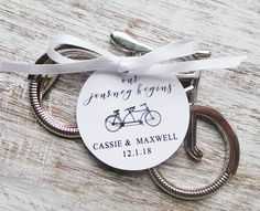 Bicycle Bottle Opener Favor w/ Personalized Tag by PaperCrabb