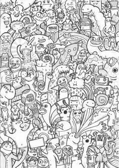 Drawing Doodles Sketches doodle drawing msnele - A doodle is an unfocused or unconscious drawing made while a person's attention is otherwise occupied. Doodles are simple drawings that can have concrete representational meaning or may just be Doodle Monster, Doodle Coloring, Colouring Pages, Coloring Books, Graffiti Doodles, Doodle Characters, Posca Art, Doodle Art Drawing, Doodle Doodle
