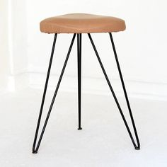 Anonymous; Enameled Metal and Leather Stool by Vereinigte Werkstaetten, 1950s.