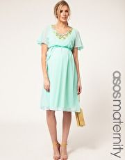 ASOS Maternity Exclusive Dress With Embellishment And Fluted Sleeves
