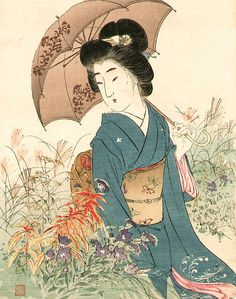 blackcoffeecinnamon:  Suzuki Kason (1860-1912) 鈴木華邨 Beauty and Umbrella 美人と傘、1908/9