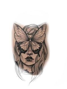 Portrait Tattoos, Girl Tattoos, White Girl Tattoo, Mujeres Tattoo, Tattoo Ideas, Tattoo Designs, Black And White Girl, Tattoo Inspiration, Tattoo Drawings