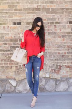 Red Top: Free People | Distressed Denim: Current Elliott | Bag: Saint Laurent | Nude Pumps: Christian Louboutin