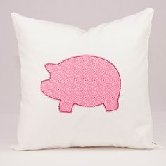 Nursery Pillow Pink Pig Applique on White Throw by LadyMaggies, $27.00