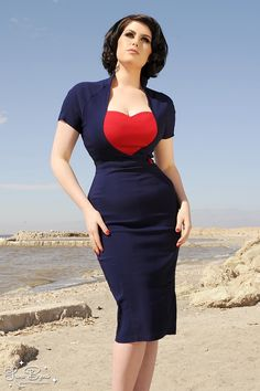 Veronica Dress in Navy with Red Heart