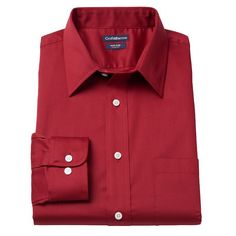 Men's Croft & Barrow® Slim-Fit Easy-Care Point-Collar Dress Shirt, Size: 17.5-32/33, Dark Red