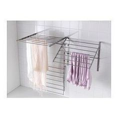 For laundry room IKEA GRUNDTAL drying rack, wall Adjustable to 3 positions. Simple to fold up when not in use. Laundry Room Drying Rack, Drying Rack Laundry, Clothes Drying Racks, Laundry Closet, Laundry Room Organization, Laundry Storage, Laundry Room Design, Laundry In Bathroom, Home Furniture