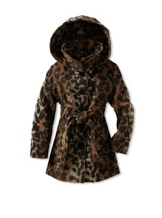 72% OFF Via Spiga Girl\'s 7-16 Stylish Leopard Print Hooded Coat (Leopard)