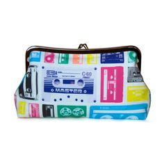 Mix tape clutch purse using penny candy fabric -- awesomely Penny Candy, Retro Fabric, Riley Blake, Coin Purses, Polka Dot Print, Mixtape, Clutch Purse, Piggy Bank, Bright Pink