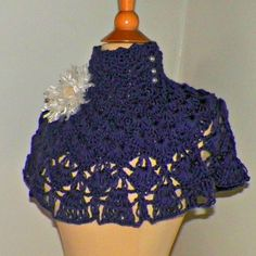 Purple Collar High Neck Victorian Cape by wildirishrosecrochet