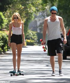 Miley Cyrus and Liam Hemsworth Skateboarding