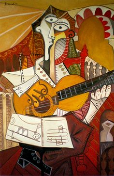Guitarrista flamenco. Óleo sobre lienzo. 72x112 cms. Año 2014.
