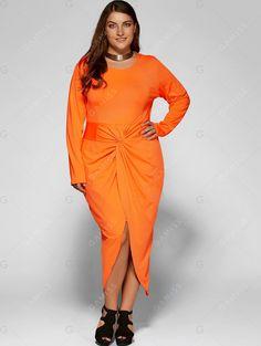 Plus Size Twist Front Long Sleeve Tulip Dress - LUMINOUS ORANGE 2XL (affiliate)