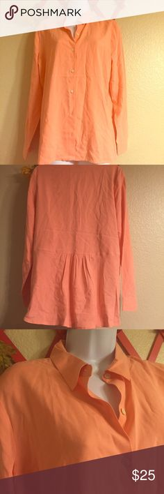 """Peach J Jill silk blouse Beautiful peach 100% silk J. Jill button up blouse. 16.5"""" from shoulder to shoulder across back and 29"""" long. She'll buttons, cute gathered back detail in excellent condition. Tres chic! J. Jill Tops Button Down Shirts"""