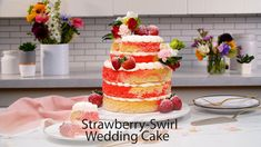 Wedding bells are ringing and you'll be singing when you find out how easy it is to make and decorate this lovely, budget-friendly and yummy wedding cake. Tap or click photo for this Strawberry-Swirl Wedding Cake #recipe.