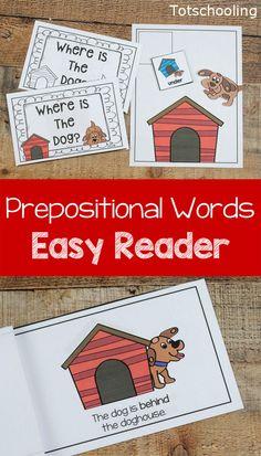 Prepositions Activity And Easy Reader Book Preposition Activities Positional Words Kindergarten Preschool Activities