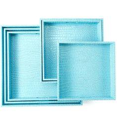 Two's Company Aqua Faux Leather Square Gallery Trays - Set of 6 (£135) ❤ liked on Polyvore featuring home, home decor, small item storage, aqua, aqua home accessories, two's company and aqua home decor