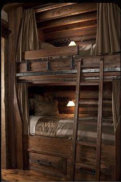 Cool Bunk Beds, Kids Bunk Beds, Rustic Bunk Beds, Cabin Bunk Beds, Triple Bunk Beds, Built In Bunks, Bunk Rooms, Bunk Bed Designs, Log Cabin Homes