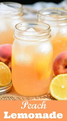 This simple homemade peach lemonade is made with only 4 ingredients and no artificial flavors. It is sweet, tart, and full of aromatic peach flavor. Peach Lemonade Recipes, Iced Tea Lemonade, Peach Drinks, Peach Ice Tea, Lemonade Cocktail, Strawberry Lemonade, Cold Drinks, Blueberry Lemonade, Homemade Lemonade