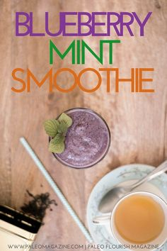 Get this Blueberry Mint Smoothie Recipe here - step-by-step photos and printable instructions available.