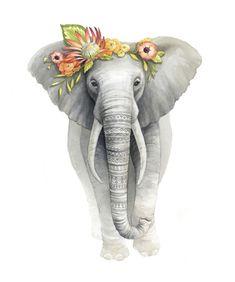 Patterned Elephant with Flower Crown Illustration - Safari Animal Nursery Art - Elephant Watercolour Print - Art by Alicia's Infinity Elephant Nursery Art, Cute Elephant, Animal Nursery, Hirsch Illustration, Elephant Illustration, Watercolour Illustration, Illustration Flower, Watercolour Art, Elephant Wallpaper