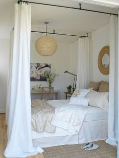 DIY four-poster bed using drapery hardware. Margot Austin - interiors.