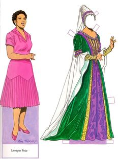 Leontyne Price, paper doll with costume change, from  Famous African-American Women Paper Dolls (Dover Paper Dolls)  by Tom Tierney 1994